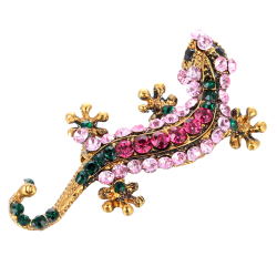 Kvinnor Vintage guldpläterad Crystal Rhinesone Gecko brosch Pin Je Pink