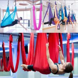 Yoga Swing Hammock Trapeze Sling Aerial Silk Set Anti-gravitation I Purple