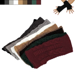 Armvärmare stickade, fingerlösa & korta [20cm] - Handledsvärmare Svart