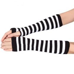 Armvärmare randiga, fingerlösa & långa - Svart/vit [35cm] MultiColor 35cm Svart/vit