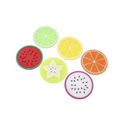 Dryckesunderlägg i silikon - Frukter - 7-pack - Coaster multifärg