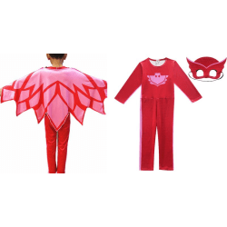 Pyjamashjältarna - hel dress+ ögonmask PJ Masks Red Ugglis 120 cl