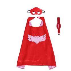 Pyjamashjältarna - PJ masks, cape / ögonmask / armband- Owlette  Röd one size