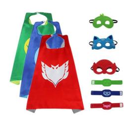 Pyjamashjältarna, PJ masks - Mantel, ögonmask och armband Grön PJ Masks Gekko -grön