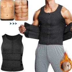 Men Body Shaper Sauna Vest Midja bantning Shapewear Burn black L