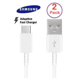 2 Pack Samsung Original 1,5m Extra lång USB-C Kabel Laddare  Vit