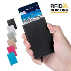 Pop-up korthållare med RFID signalblockering  Svart