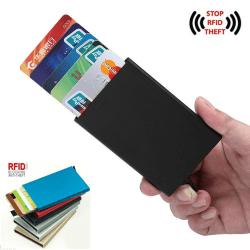 Korthållare med RFID skydd Aluminiumfacken 6 Färger Svart