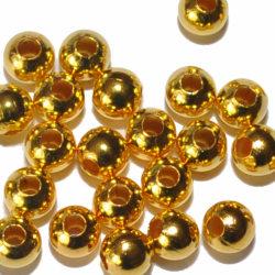 50-pack Runda mellanpärlor i ren mässing, 4mm Guld