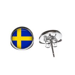 Örhängen Rostfritt Stål Svenska Flaggan Heja Sverige Stift Studs