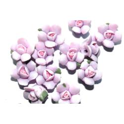Syrenlila handgjorda porslinsrosor med rosa mitt, 13x8mm Syrenlila