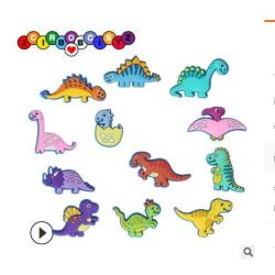 4 st 2d PVC Jibitz t Rex Inspirerad Dinosaur Sko Charms Yellow*1+Pink*1+Green*2