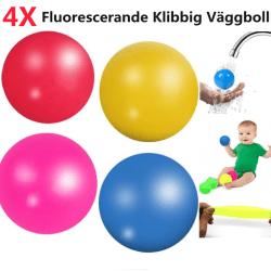 4x Fluorescerande Sticky Wall Ball Boll Dekompression Leksak Slumpmässig