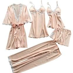5 Pyjamas för Damer, Pyjamas Med Spetsar i Silkesatin Champagne M