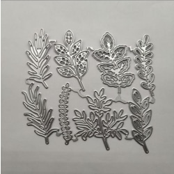 8PC blomma löv metall skärning dör hälsningskort gör hantverk Silver