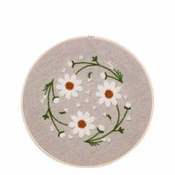 Färgglada blomma Cross Stitch Needlework Kit Broderi Starter Se Vita