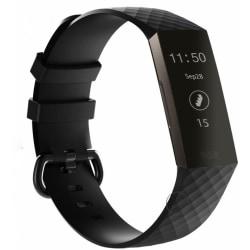För Fitbit Charge 3 Watch Band Ersättare Silikon Diamond Arm Svart