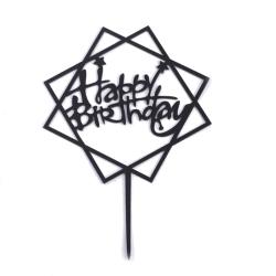 Hem Kärlek Grattis på födelsedagen Guldkaka Topperkort Akrylfes Svart torg