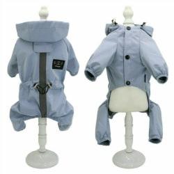 Hundkläder Rain Coat Vattentät 4 Ben Pet Raincoat Hoodie För Sm Blå Xl