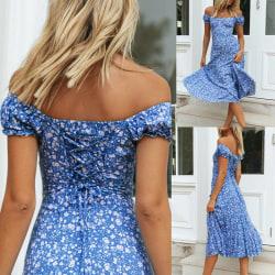 Kvinnor damer blommig utskrift av axelklänningar sommar avslappnad Ljusblå Xl