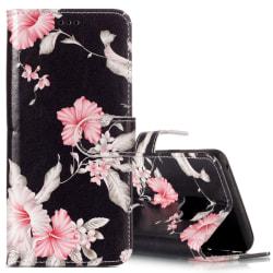 Plånboksfodral för Galaxy S9 Svart, rosa blommor