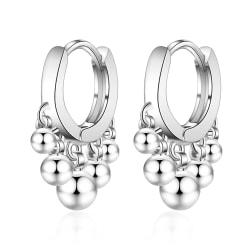 Silverörhänge: creol med kulor silver