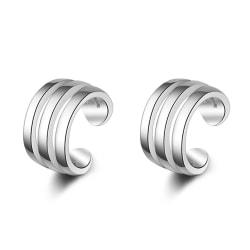 Silverörhänge: ear cuff tre band silver