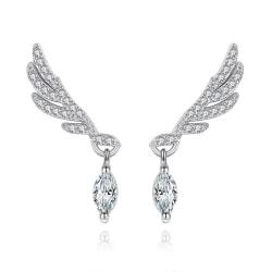 Silverörhänge: vinge med mandelformad diamant silver