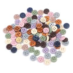 100st träfärgade knappar handarbete diy hantverk sömduk Multicolor