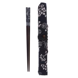 Style Träbestick Set Ätpinnar Med Tygväska Bärbar Tr Blue