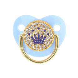 krona strass bling guld napp baby dummy spädbarn klubba Blue