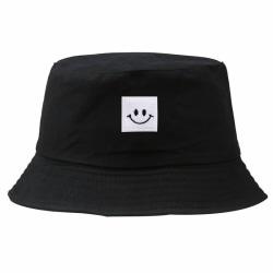 Smile Face Patch Folding Fisherman Bucket Hat Unisex Män Beach S Black one-size