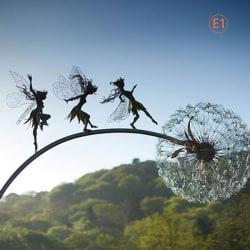 trädgård dekorativa stav älvor maskrosor dansa tillsammans metall E1