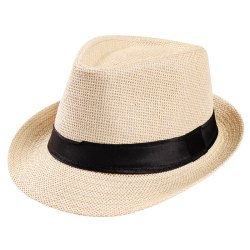 Unisex hatt Män Kvinnor Fedora Trilby Wide Brim Straw Cap Beach Sun Light yellow M