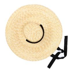 Wide Brim Boater stråhatt platt kvinnor sommar med band slips sol Black