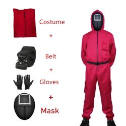 4st/ set Squid game speljacka set cosplay halloween kostym Adult S+Square mask