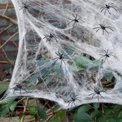 Halloween spindelnät bomullstråd spindelnätdekorationer White + 10pcs spiders