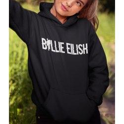 Billie Eilish text svart Hoodie huvtröja sweatshirt t-shirt 152cl 12-13år