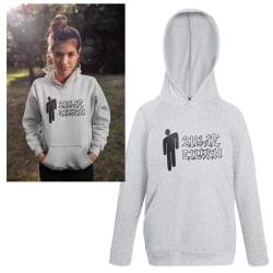 Billie Eilish barn Huvtröja grå Hoodie tröja t-shirt sweatshirt Grey 140cl 9-11år