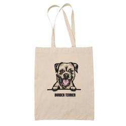 Border terrier tygkasse hund shopping väska Tote bag  Natur one size