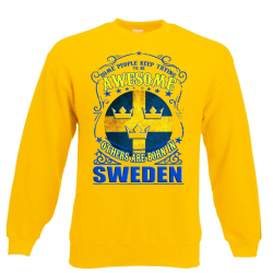 Born in Sweden t-shirt med 3 kronor Sverige flagga S