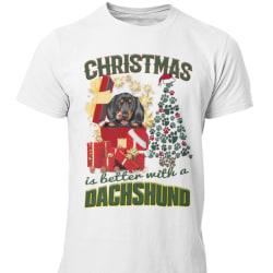 Dachshund t-shirt Jul hund t-shirt christmas jumpers stil tax White XL