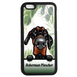 Doberman pinscher iPhone 6 6s skal Kikande hund gummiskal