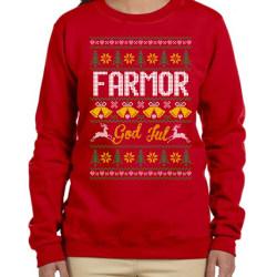 Farmor Jultröja - Christmas jumper stil röd sweatshirt M