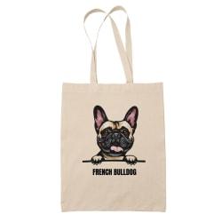 French Bulldog tygkasse hund shopping väska Tote bag  Natur one size