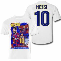 Messi sports t-shirt i polyester - vit tröja tryck fram & bak 140cl  9-11år