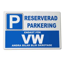 Metall plåtskylt ' Volkswagon ' design - 30x20 cm VW skylt