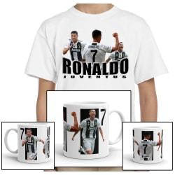 Ronaldo vit barn t-shirt + mugg paket 128cl 7-8år