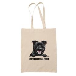 Staffordshire Bull terrier tygkasse hund shopping väska Totebag  Natur one size
