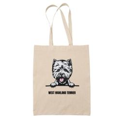 West highland terrier tygkasse hund shopping väska - Tote bag  Natur one size